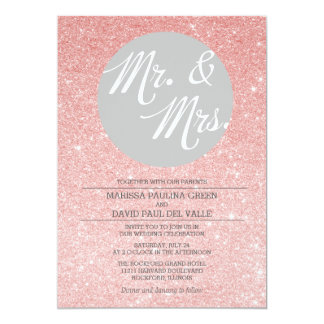 Rose Gold Glitter Wedding Invitation