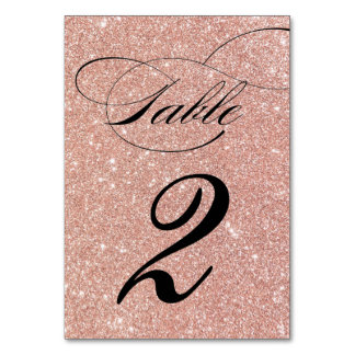 Rose Gold Glitter Wedding Reception Table Number