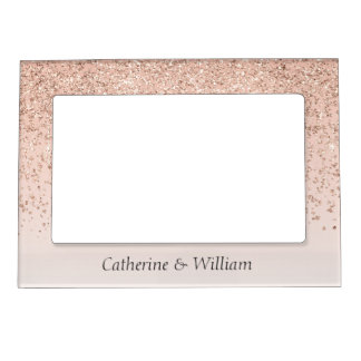 Rose Gold Glittery Wedding Magnetic Photo Frame