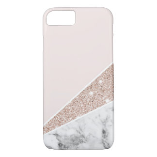 Rose Gold, Gold Glitter, & Marble iPhone 8/7 Case