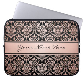 Rose Gold Gradient | Damask Pattern on Black Laptop Sleeve