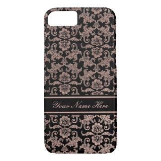 Rose Gold Gradient Metal Floral Damask on Black iPhone 8/7 Case