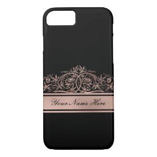 Rose Gold Gradient Metal Floral Frame on Black iPhone 8/7 Case