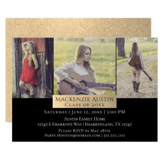 Rose Gold Graduation | Modern Grad Photo Party Card