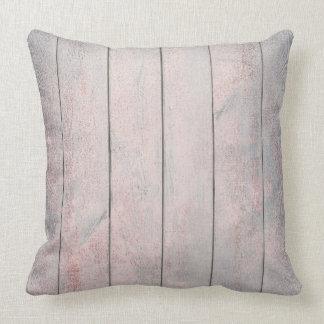Rose Gold Gray Blush Metallic Wood Cottage Home Cushion