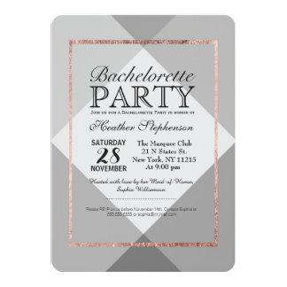Rose Gold Gray Geo Bachelorette Party Invitations