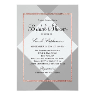 Rose Gold Gray Geo Bridal Shower Invitations