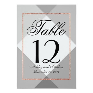 Rose Gold Gray Geo Table Numbers 9 Cm X 13 Cm Invitation Card