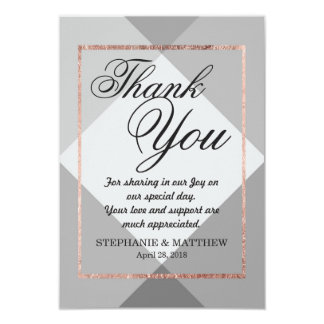 Rose Gold Gray Geo Thank You Cards 9 Cm X 13 Cm Invitation Card