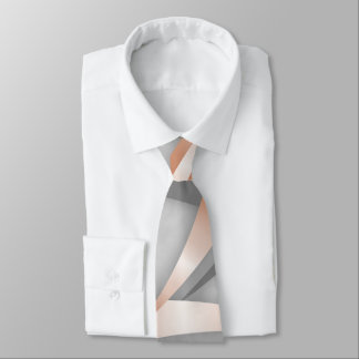 Rose Gold Gray Marble Abstract Art Tie