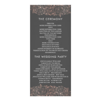 Rose Gold & Grey   Chic Floral Wedding Program Rack Card