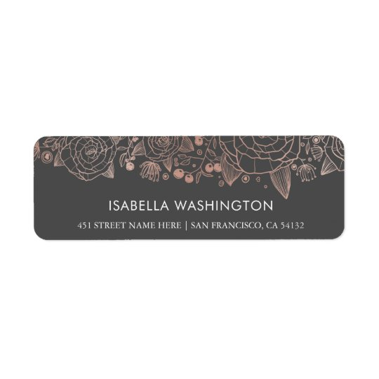 Rose Gold & Grey | Chic Flowers Return Address Label