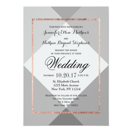 Rose Gold Grey Geo Wedding Invitations