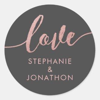 Rose Gold & Grey Love Script Names Favour Sticker