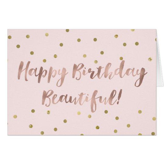 Rose Gold Happy Birthday Gold Confetti Card