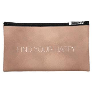 Rose Gold Happy Makeup Bag