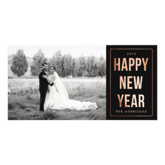 Rose Gold Happy New Year Faux Glitter on Black Customised Photo Card