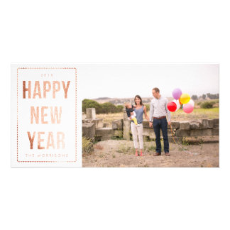 Rose Gold Happy New Year Faux Glitter on White Personalized Photo Card