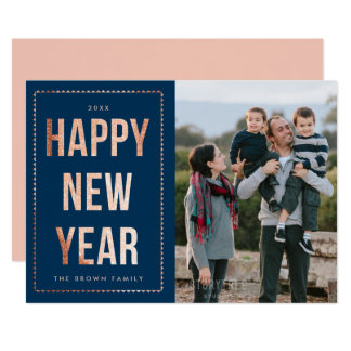 Rose Gold Happy New Year Photo Card on Navy Blue 13 Cm X 18 Cm Invitation Card