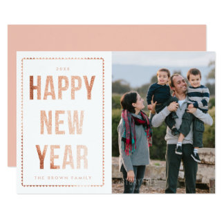 Rose Gold Happy New Year Photo Card on White 13 Cm X 18 Cm Invitation Card