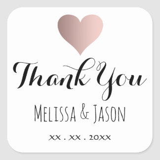 rose gold heart thank you wedding square sticker