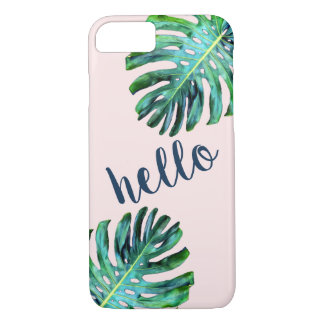 Rose Gold Hello Modern Typography Tropical Leaf