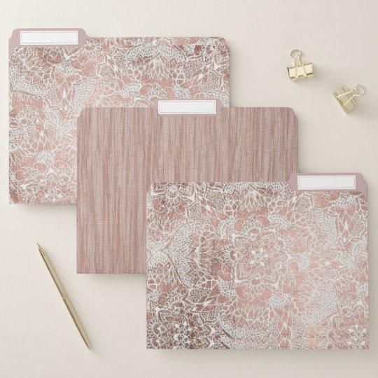 Rose Gold Henna Inspired File Folders Zazzle Co Uk