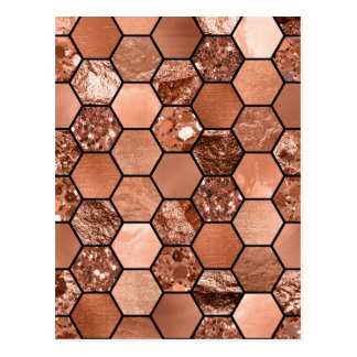 Rose gold hexaglam postcard