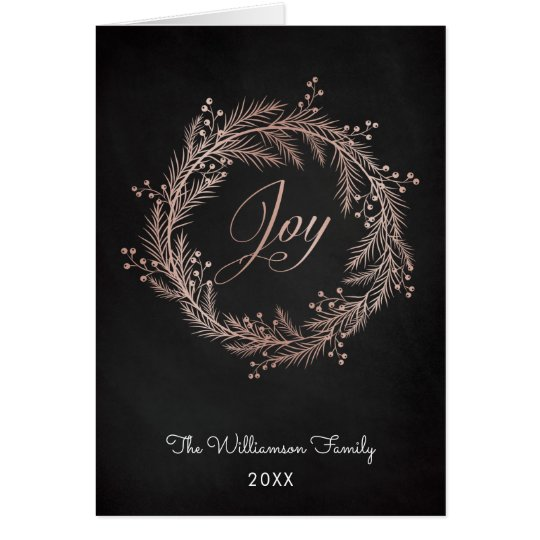 Rose Gold Joy Script & Wreath Christmas Card