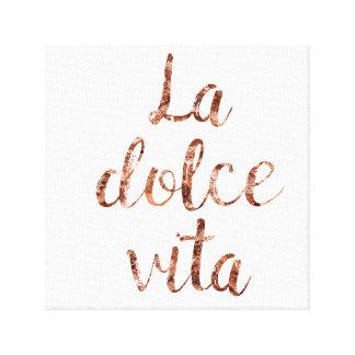 Rose gold La Dolce Vita Canvas Print