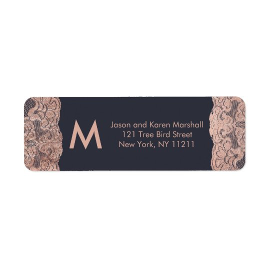 Rose Gold Lace and Navy Blue Address Labels