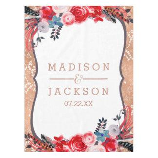Rose Gold Lace & Floral Elegant Wedding Monogram Tablecloth