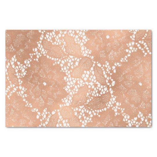 Rose Gold Lace & Floral Elegant Wedding Tissue Paper