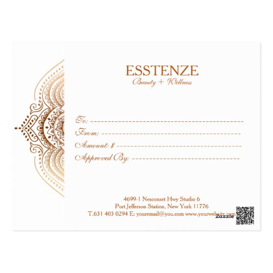 Rose-Gold Lace Gift Certificate Postcard