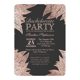 Rose Gold Leaves on Black Bachelorette Party Card