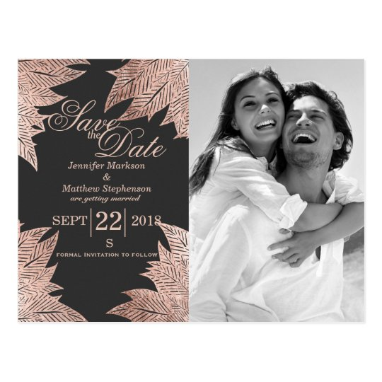 Rose Gold Leaves on Black Save the Date