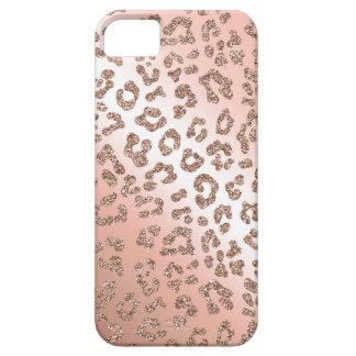 Rose gold leopard print glitter case