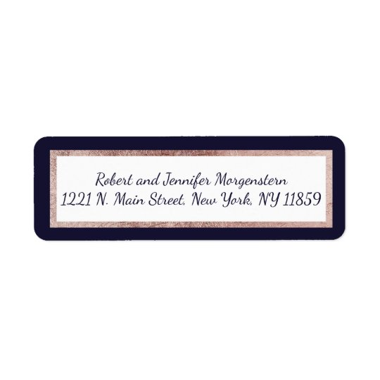 Rose Gold Lined Navy Blue and White Address