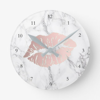 rose gold lips on marble clock