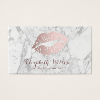 rose gold lips on marble makeup artist business card