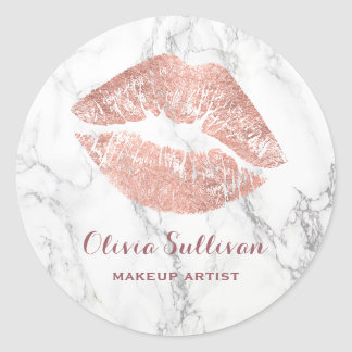 rose gold lips on marble makeup artist classic round sticker