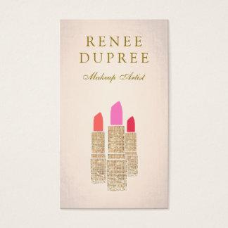 Rose Gold Lipstick Makeup Artist Beauty Salon Business Card