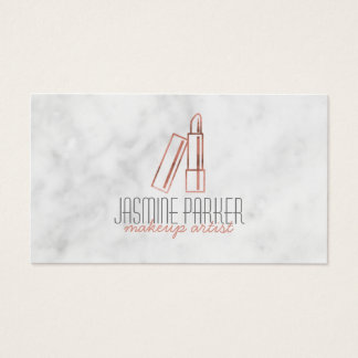 Rose Gold Lipstick Marble Business Card