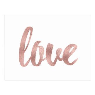 Rose gold love postcards