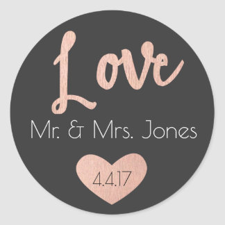 Rose Gold, Love Stickers- Wedding Favors Classic Round Sticker