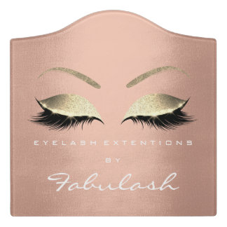 Rose Gold Luxury Beauty Studio Salon Lashes Makeup Door Sign