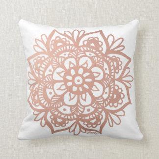 Rose Gold Mandala Throw Pillow Cushion