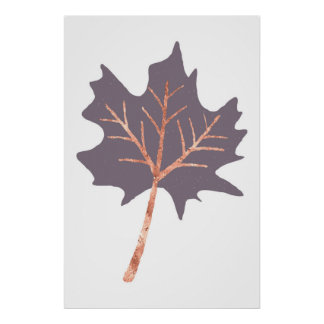 Rose Gold Maple Leaf Wall Print