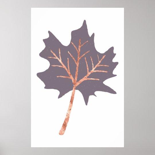 Rose Gold Maple Leaf Wall Print