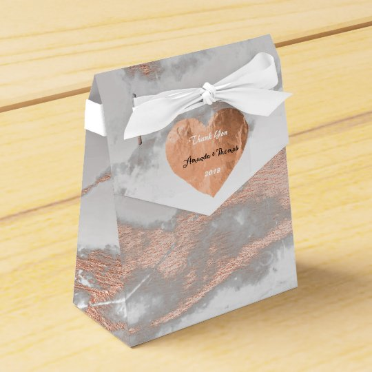 Rose Gold Marble Copper Heart 16th Silver Favor